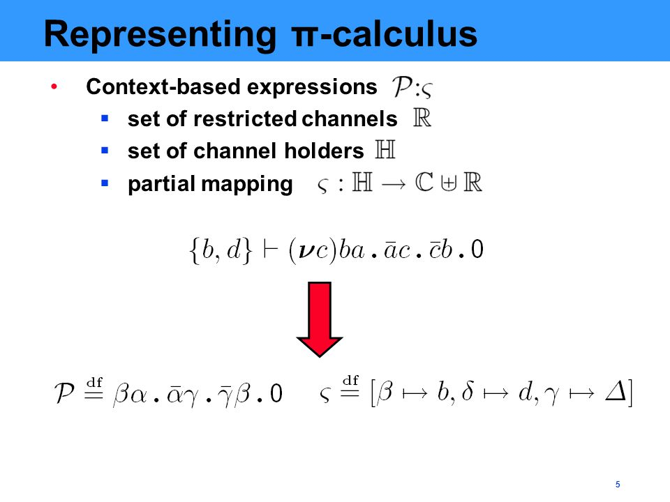 5 Representing π-calculus Context-based expressions  set of restricted channels  set of channel holders  partial mapping
