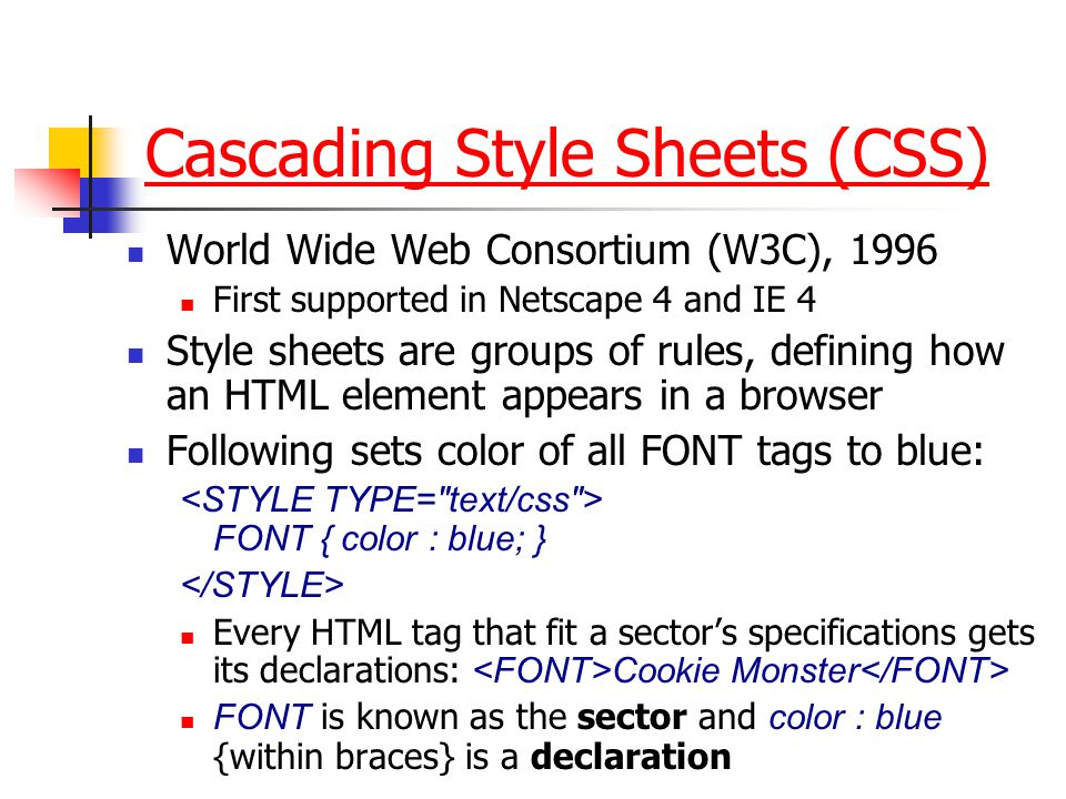 Dynamic HTML (DHTML) combines 3 technologies: Cascading Style Sheets (CSS) refines HTML formatting and provides better control over positioning and la