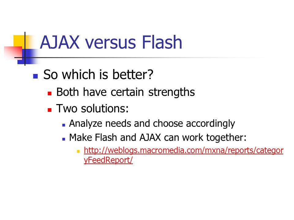 Flash pros vs. AJAX Media Handling.