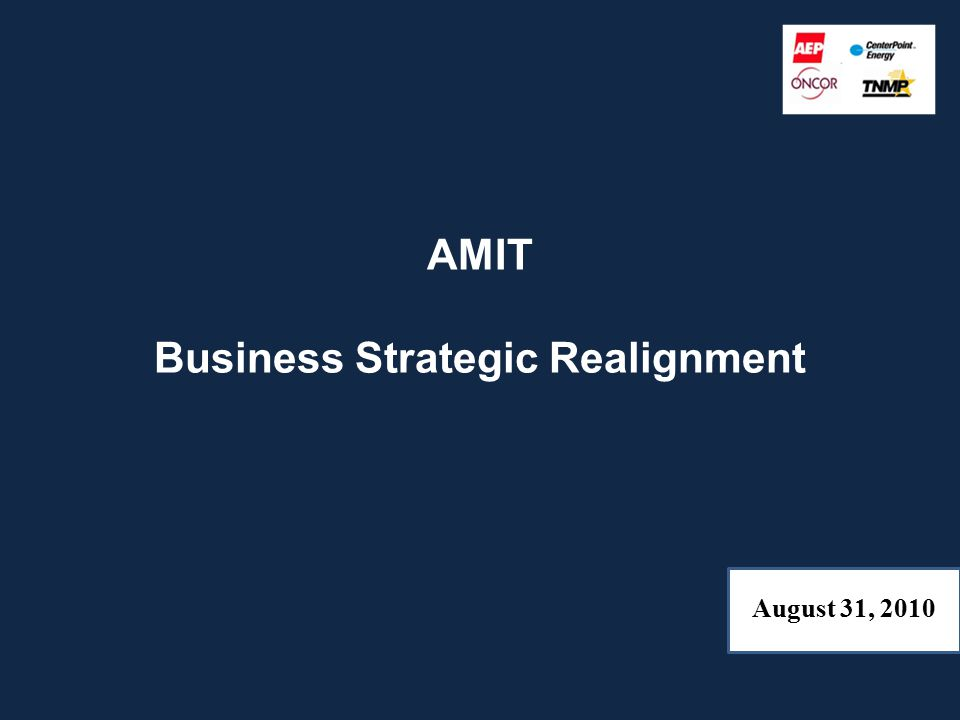 AMIT Business Strategic Realignment August 31, 2010