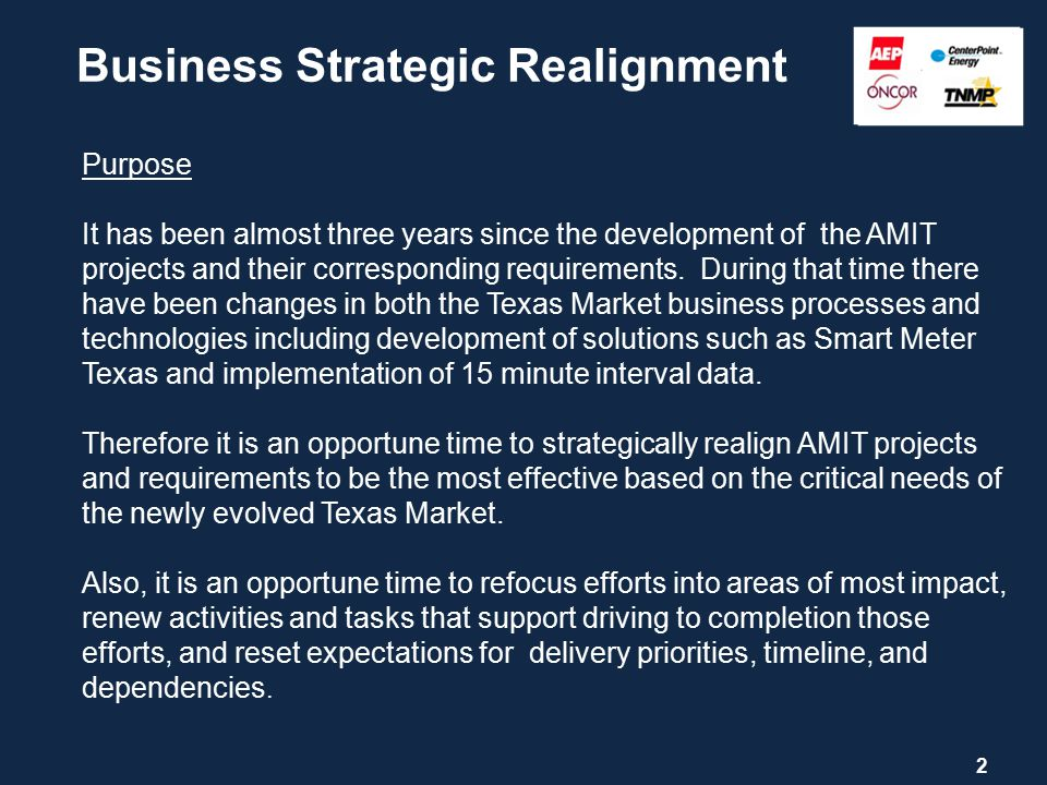 Business Strategic Realignment 2 Purpose It has been almost three years since the development of the AMIT projects and their corresponding requirements.