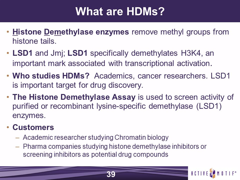 What are HDMs. Histone Demethylase enzymes remove methyl groups from histone tails.