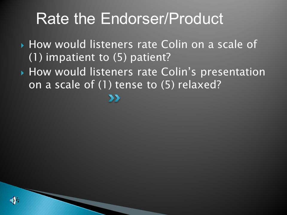  How would listeners rate Colin on a scale of (1) impatient to (5) patient.