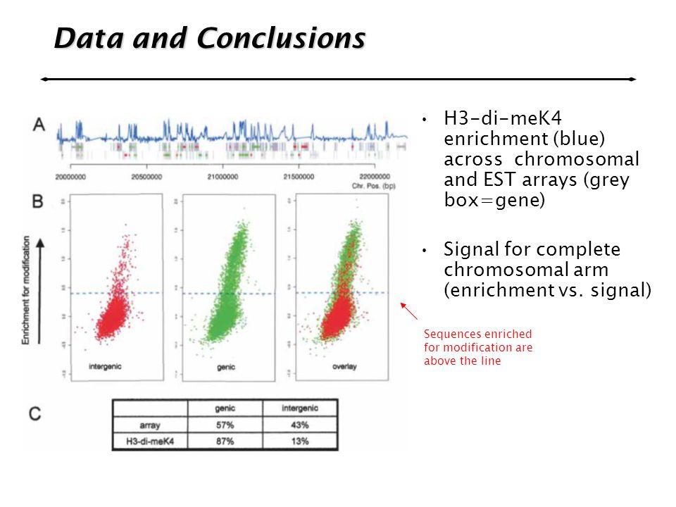 Data and Conclusions H3-di-meK4 enrichment (blue) across chromosomal and EST arrays (grey box=gene) Signal for complete chromosomal arm (enrichment vs.