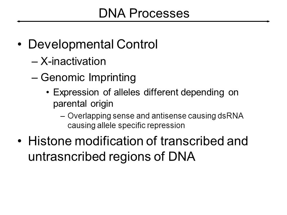 DNA Processes Developmental Control –X-inactivation –Genomic Imprinting Expression of alleles different depending on parental origin –Overlapping sens