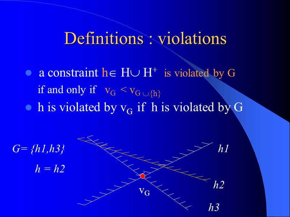 Definitions : violations a constraint h  H  H + is violated by G if and only if v G < v G  {h} h is violated by v G if h is violated by G h1 h2 h3 G= {h1,h3} h = h2 vGvG