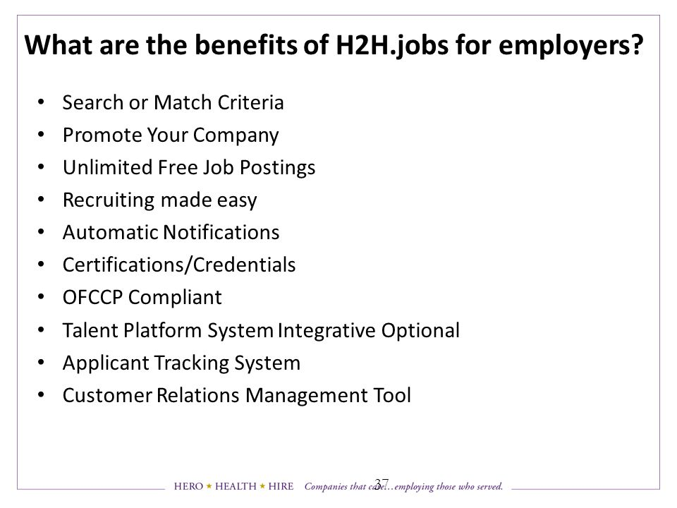 What are the benefits of H2H.jobs for employers.