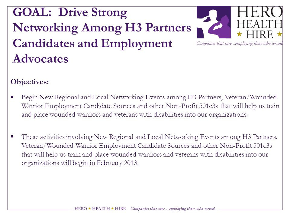 GOAL: Drive Strong Networking Among H3 Partners Candidates and Employment Advocates Objectives:  Begin New Regional and Local Networking Events among H3 Partners, Veteran/Wounded Warrior Employment Candidate Sources and other Non-Profit 501c3s that will help us train and place wounded warriors and veterans with disabilities into our organizations.