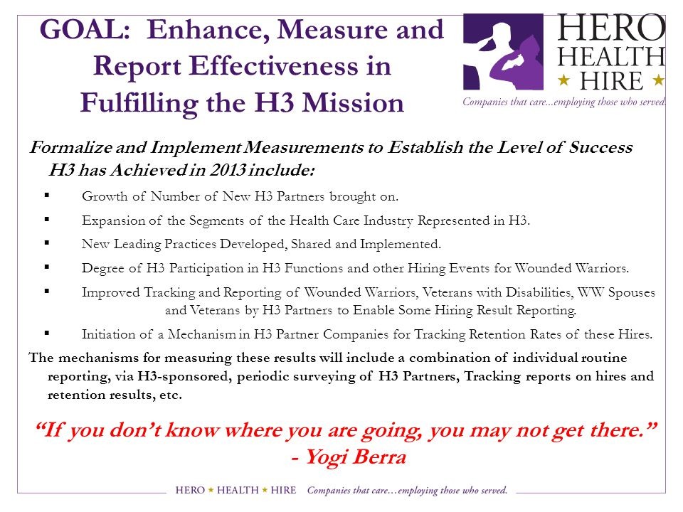 GOAL: Enhance, Measure and Report Effectiveness in Fulfilling the H3 Mission Formalize and Implement Measurements to Establish the Level of Success H3 has Achieved in 2013 include:  Growth of Number of New H3 Partners brought on.