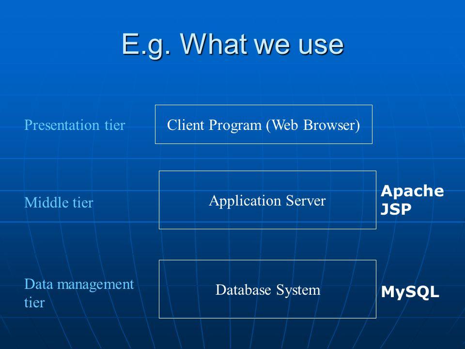 E.g. What we use Database System Application Server Client Program (Web Browser) Presentation tier Middle tier Data management tier MySQL Apache JSP