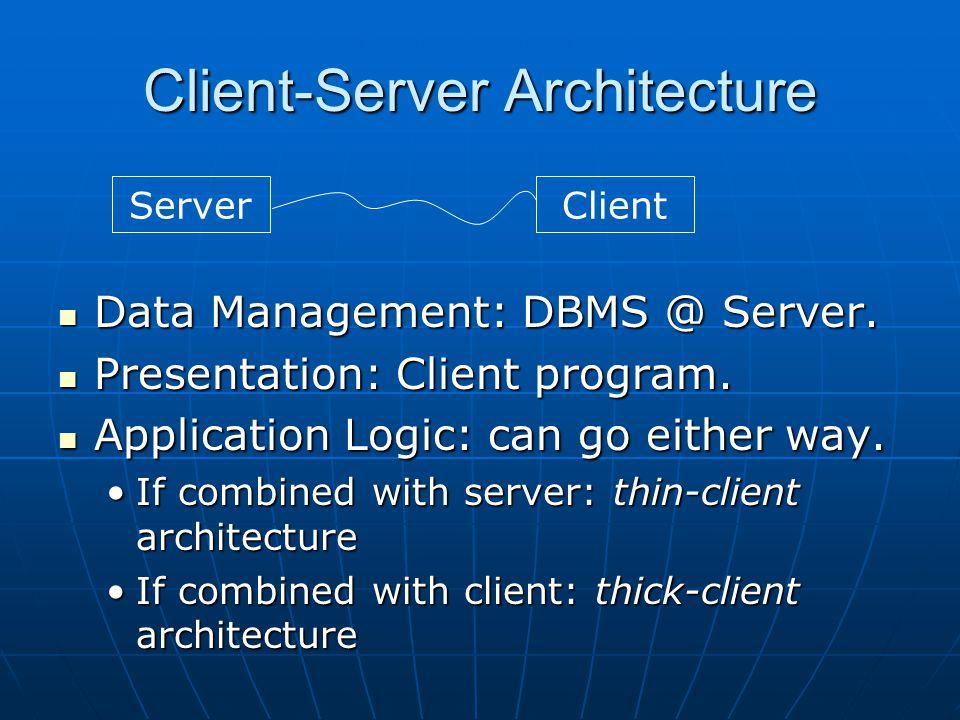 Client-Server Architecture Data Management: DBMS @ Server. Data Management: DBMS @ Server. Presentation: Client program. Presentation: Client program.