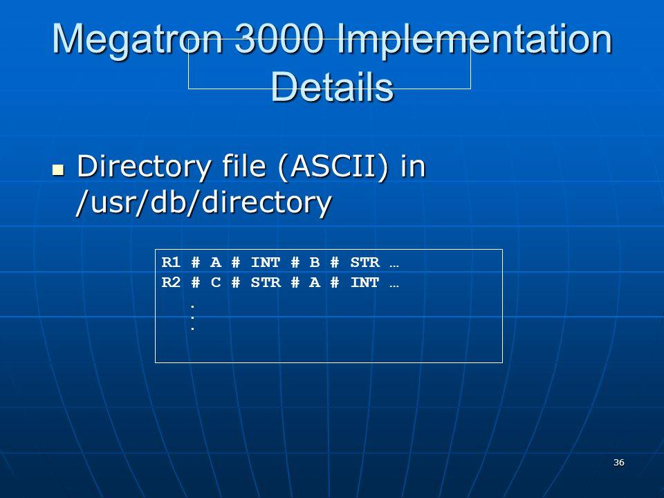 36 Megatron 3000 Implementation Details Directory file (ASCII) in /usr/db/directory Directory file (ASCII) in /usr/db/directory R1 # A # INT # B # STR