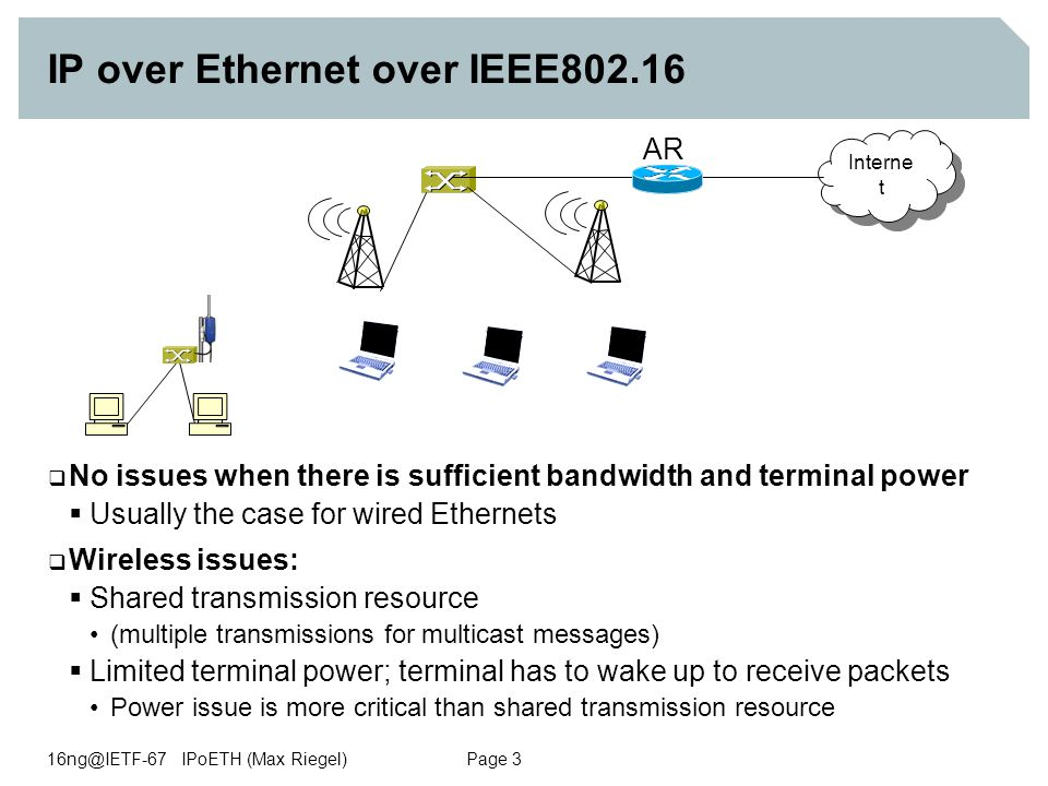 16ng@IETF-67 IPoETH (Max Riegel) Page 3 IP over Ethernet over IEEE802.16  No issues when there is sufficient bandwidth and terminal power  Usually the case for wired Ethernets  Wireless issues:  Shared transmission resource (multiple transmissions for multicast messages)  Limited terminal power; terminal has to wake up to receive packets Power issue is more critical than shared transmission resource Interne t AR