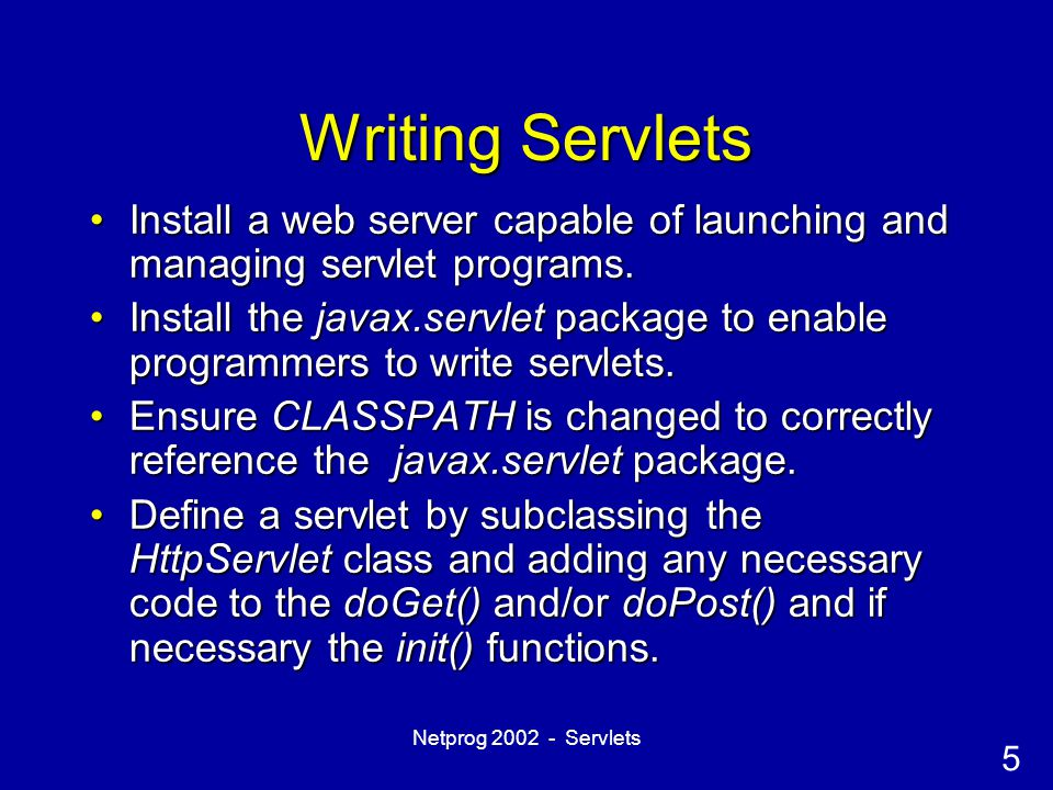 16 Netprog 2002 - Servlets Cookies and Servlets The HttpServletRequest class includes the getCookies() function.The HttpServletRequest class includes the getCookies() function.