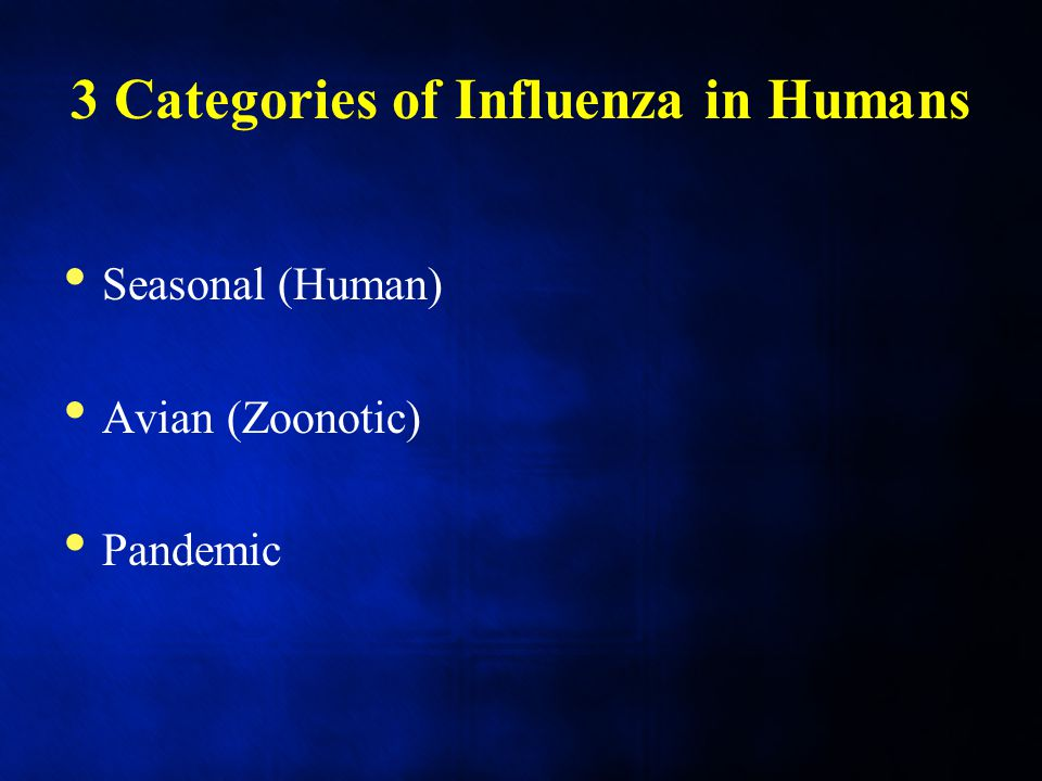 3 Categories of Influenza in Humans Seasonal (Human) Avian (Zoonotic) Pandemic