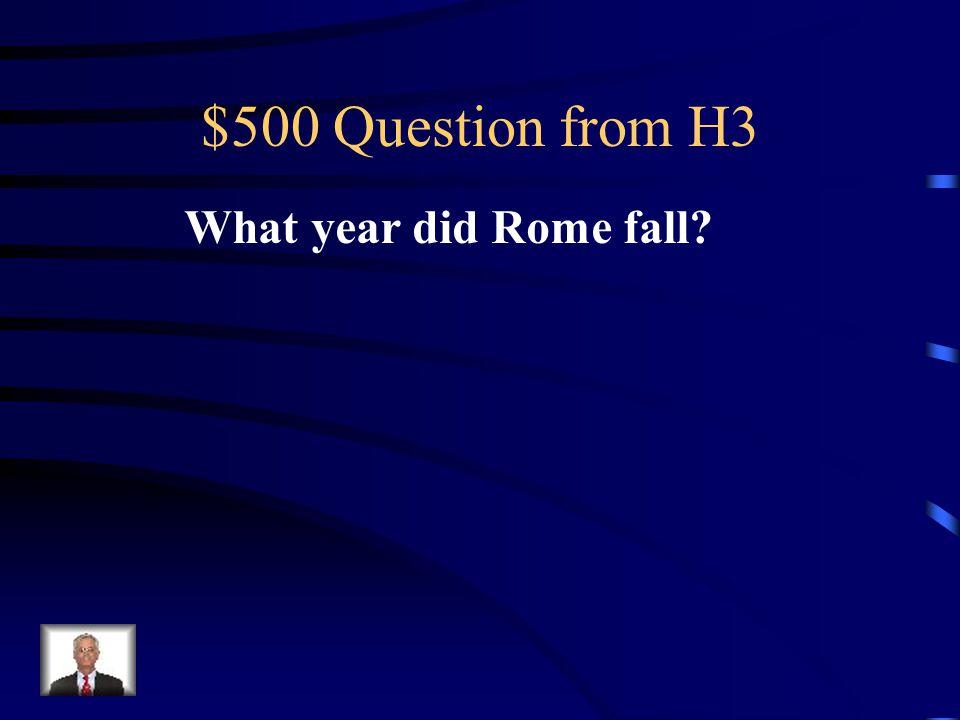 $400 Answer from H3 Latifundias