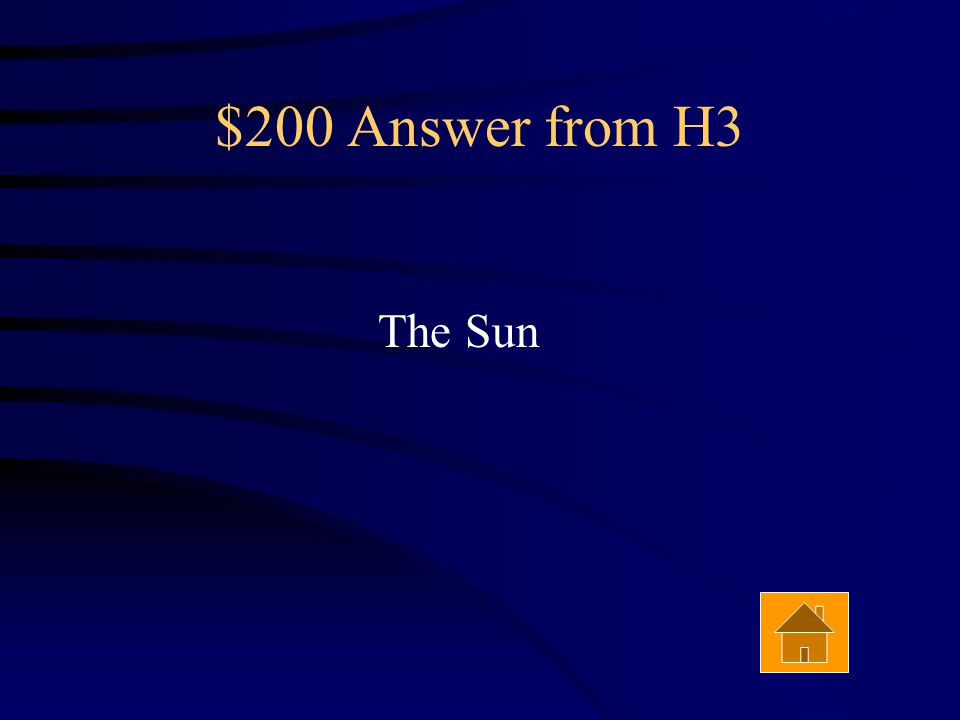 $200 Question from H3 The energy for all food chains on the surface of the earth begins with this Answer