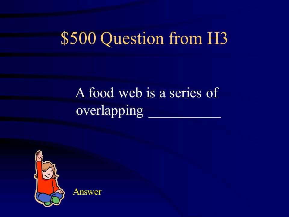$400 Answer from H3 A scavenger feeds on the bodies of dead organisms.