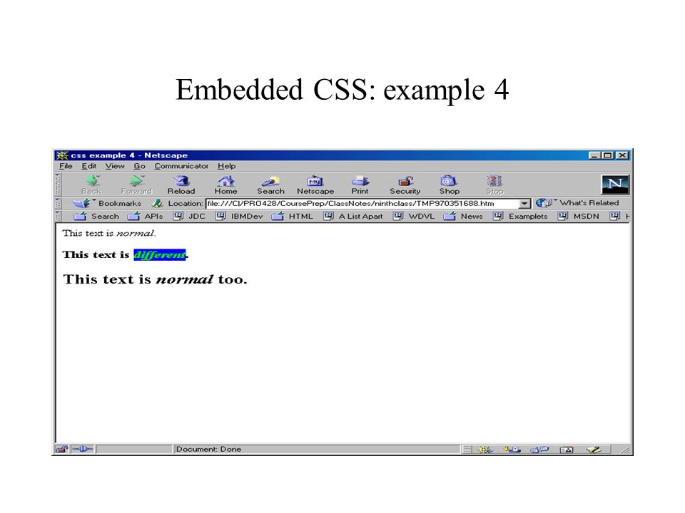 Embedded CSS: example 4