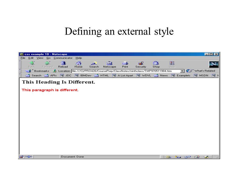 Defining an external style
