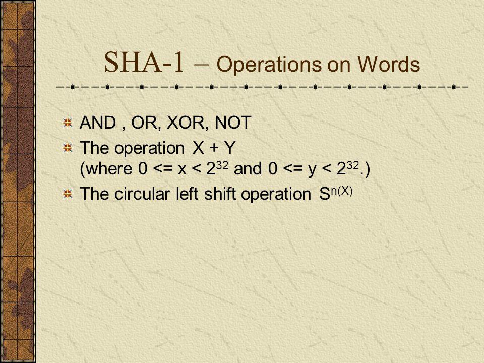 SHA-1 – Message Padding 在字串後面增加 1 . 01010000 , 進行此步驟後會變成 010100001 0 的填置.
