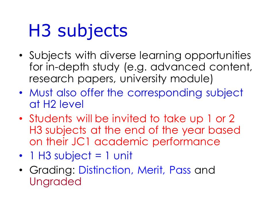 Subjects with diverse learning opportunities for in-depth study (e.g.