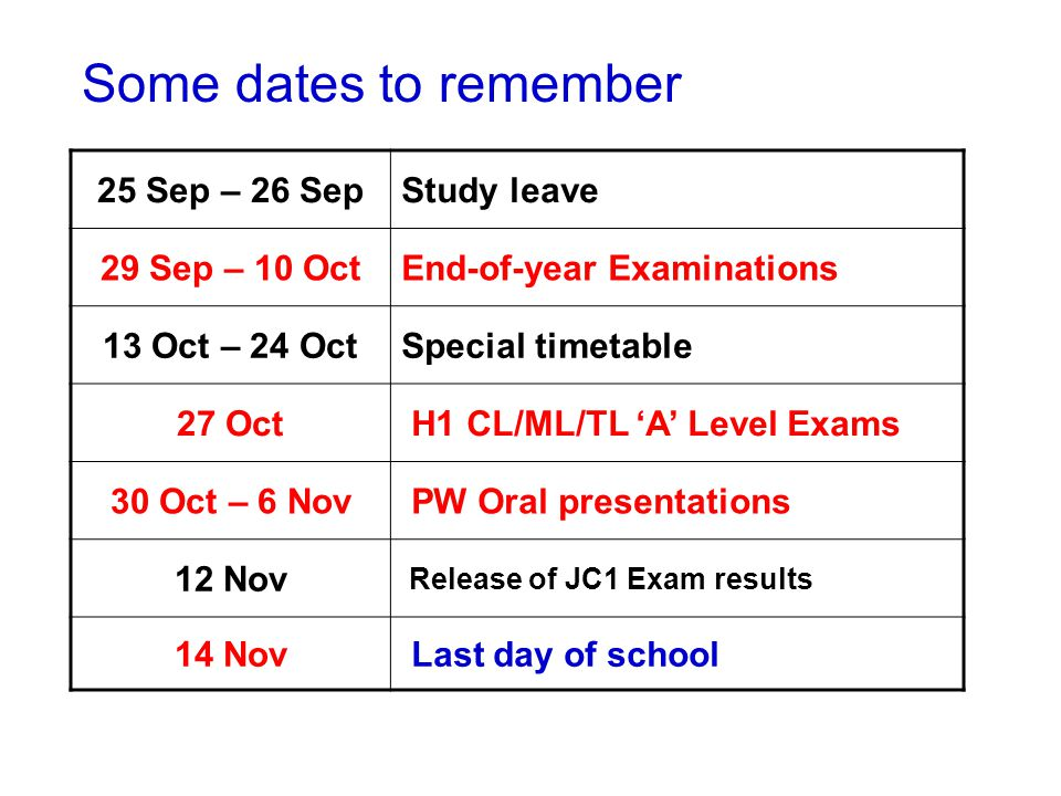 Some dates to remember 25 Sep – 26 SepStudy leave 29 Sep – 10 OctEnd-of-year Examinations 13 Oct – 24 OctSpecial timetable 27 Oct H1 CL/ML/TL 'A' Level Exams 30 Oct – 6 Nov PW Oral presentations 12 Nov Release of JC1 Exam results 14 Nov Last day of school