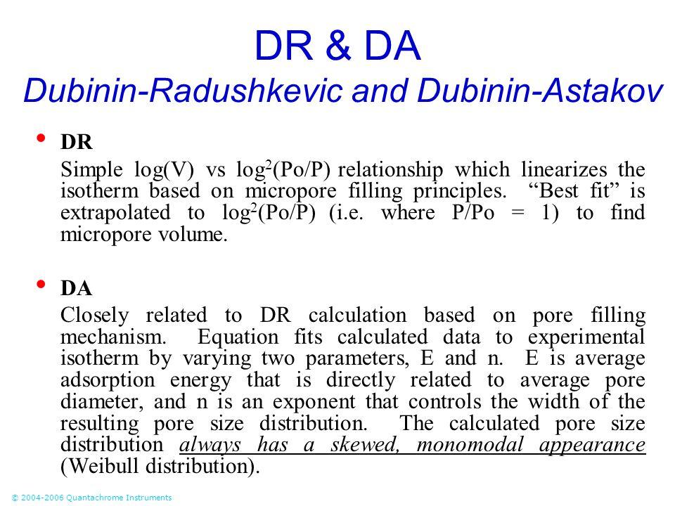 © 2004-2006 Quantachrome Instruments DR & DA Dubinin-Radushkevic and Dubinin-Astakov DR Simple log(V) vs log 2 (Po/P) relationship which linearizes th