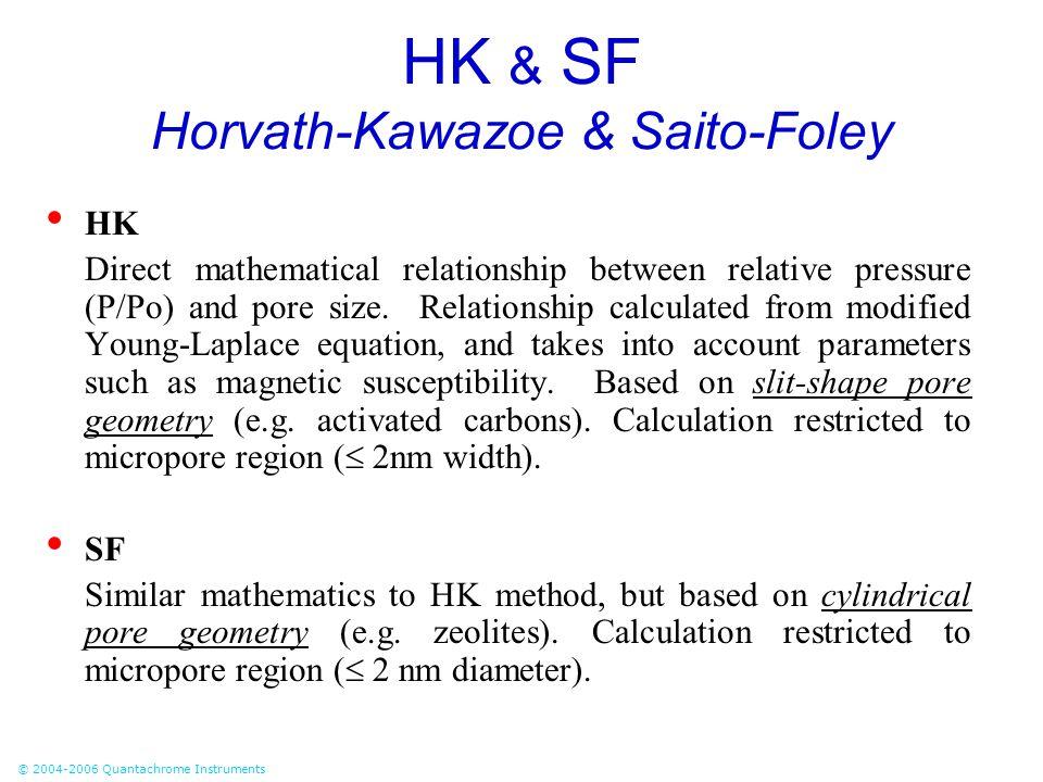 © 2004-2006 Quantachrome Instruments HK & SF Horvath-Kawazoe & Saito-Foley HK Direct mathematical relationship between relative pressure (P/Po) and po