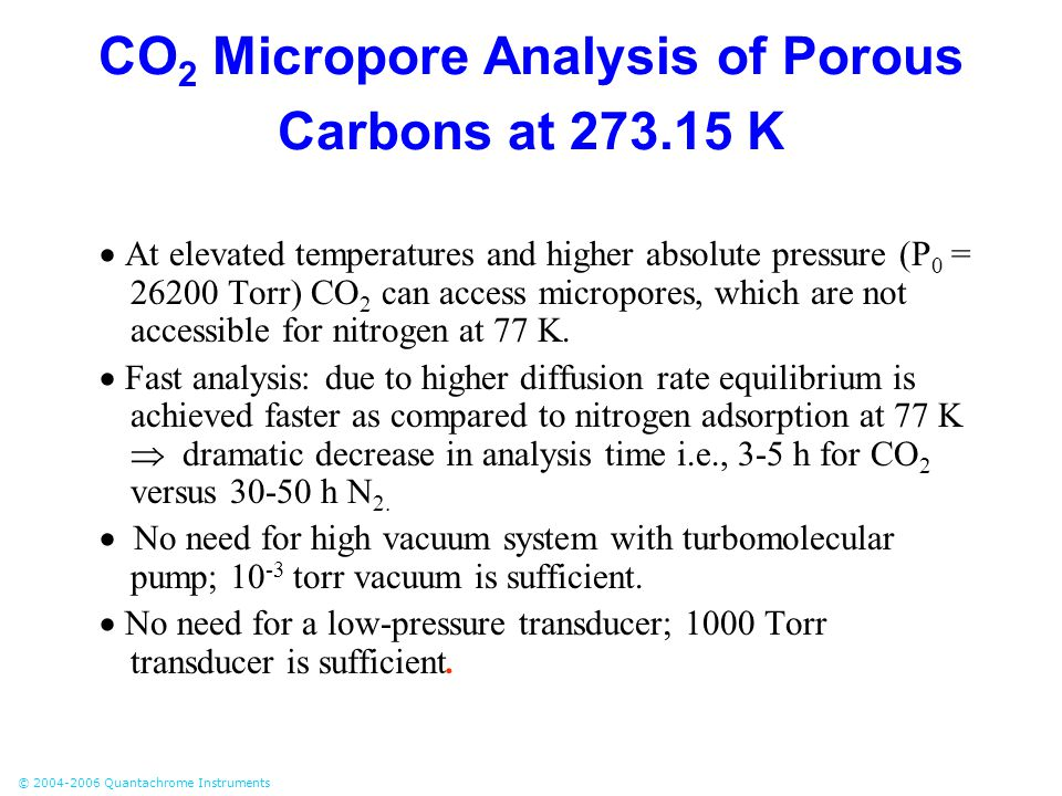 © 2004-2006 Quantachrome Instruments CO 2 Micropore Analysis of Porous Carbons at 273.15 K  At elevated temperatures and higher absolute pressure (P