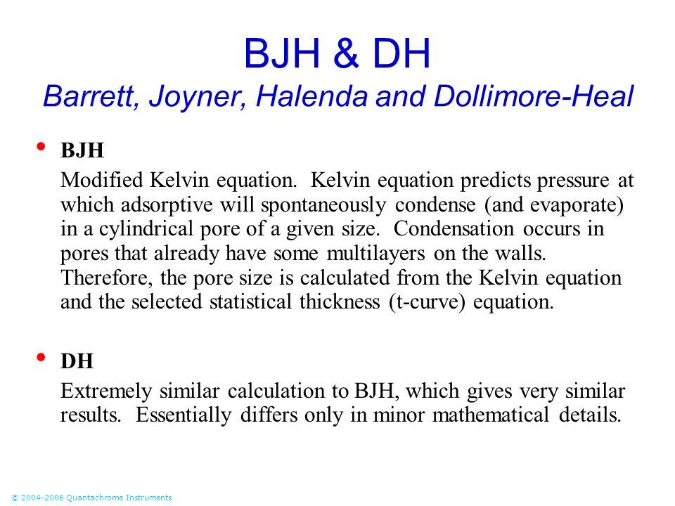 © 2004-2006 Quantachrome Instruments BJH & DH Barrett, Joyner, Halenda and Dollimore-Heal BJH Modified Kelvin equation. Kelvin equation predicts press