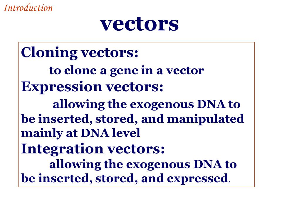 vectors Cloning vectors: to clone a gene in a vector Expression vectors: allowing the exogenous DNA to be inserted, stored, and manipulated mainly at DNA level Integration vectors: allowing the exogenous DNA to be inserted, stored, and expressed.