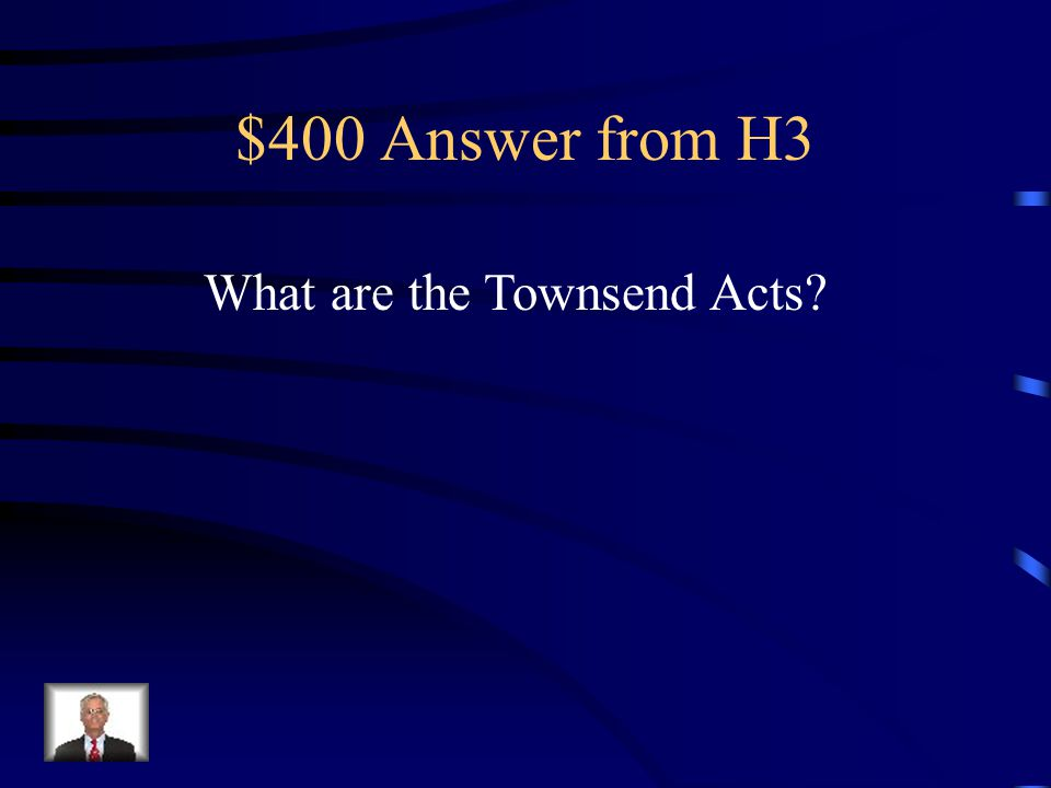 $400 Question from H3 1767 taxes on glass, lead, paper and tea