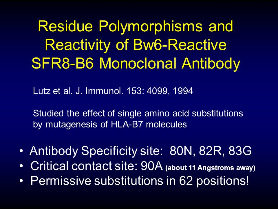 Residue Polymorphisms and Reactivity of Bw6-Reactive SFR8-B6 Monoclonal Antibody Antibody Specificity site: 80N, 82R, 83G Critical contact site: 90A (