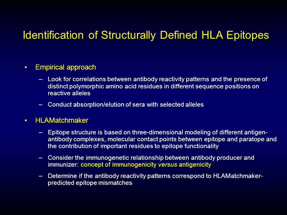 Identification of Structurally Defined HLA Epitopes Empirical approach –Look for correlations between antibody reactivity patterns and the presence of
