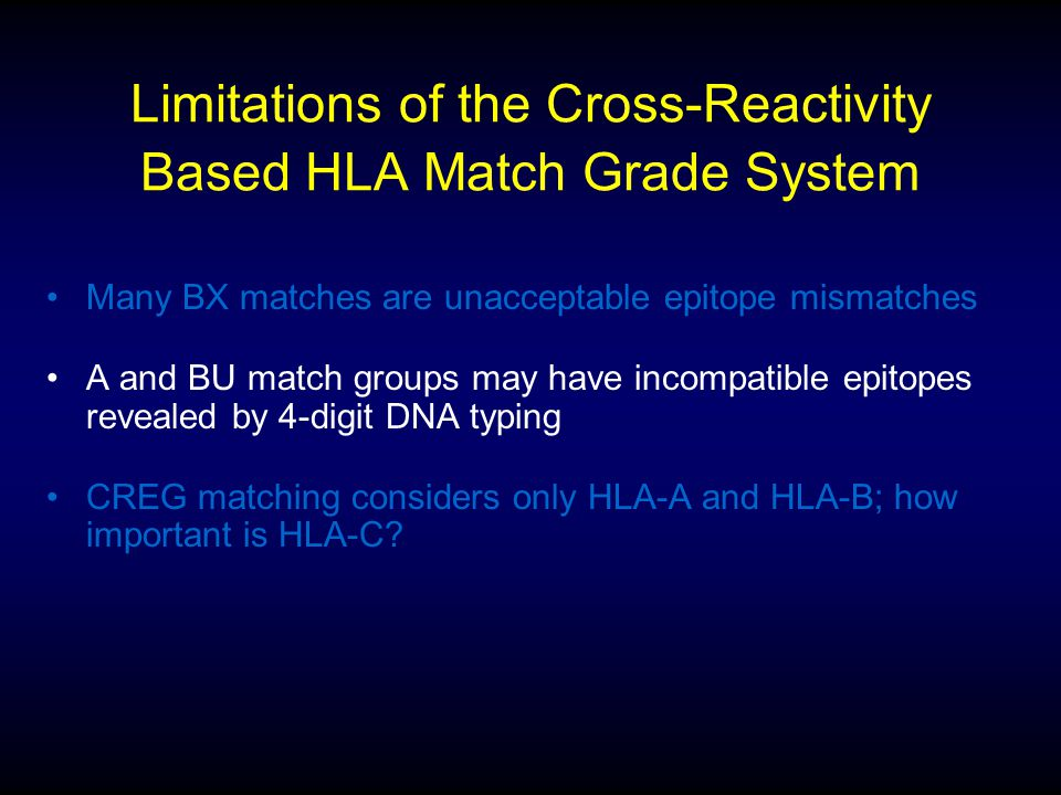 Limitations of the Cross-Reactivity Based HLA Match Grade System Many BX matches are unacceptable epitope mismatches A and BU match groups may have in