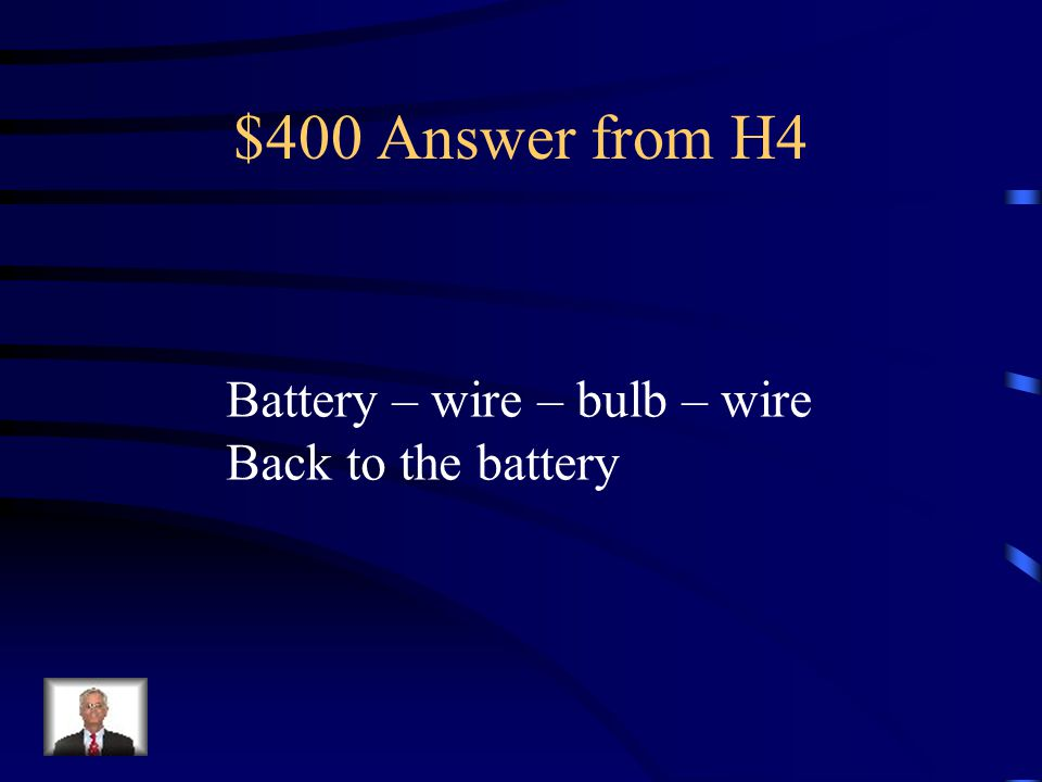 $400 Question from H4 Draw and label a complete Circuit That would make a bulb light