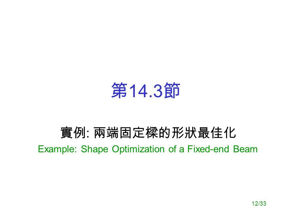 12/33 第 14.3 節 實例 : 兩端固定樑的形狀最佳化 Example: Shape Optimization of a Fixed-end Beam