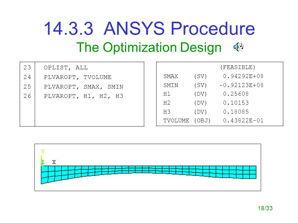18/33 14.3.3 ANSYS Procedure The Optimization Design 23 24 25 26 OPLIST, ALL PLVAROPT, TVOLUME PLVAROPT, SMAX, SMIN PLVAROPT, H1, H2, H3 (FEASIBLE) SMAX (SV) 0.94292E+08 SMIN (SV) -0.92123E+08 H1 (DV) 0.25608 H2 (DV) 0.10153 H3 (DV) 0.18085 TVOLUME (OBJ) 0.43822E-01