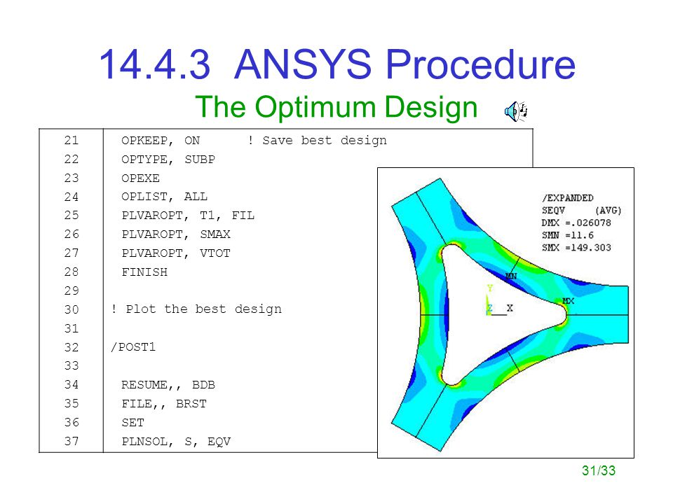 31/33 14.4.3 ANSYS Procedure The Optimum Design 21 22 23 24 25 26 27 28 29 30 31 32 33 34 35 36 37 OPKEEP, ON .