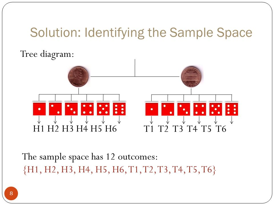 Example: Probability Using a Tree Diagram 29 A probability experiment consists of tossing a coin and spinning the spinner shown.
