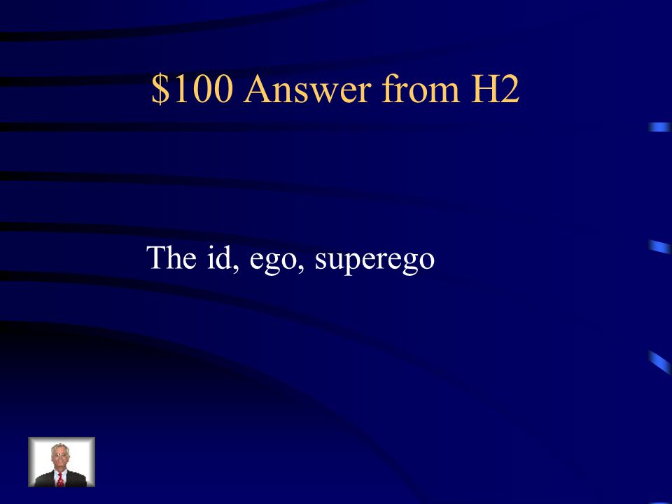 $100 Question from H2 The unconscious mind is divided into three parts according to Freud