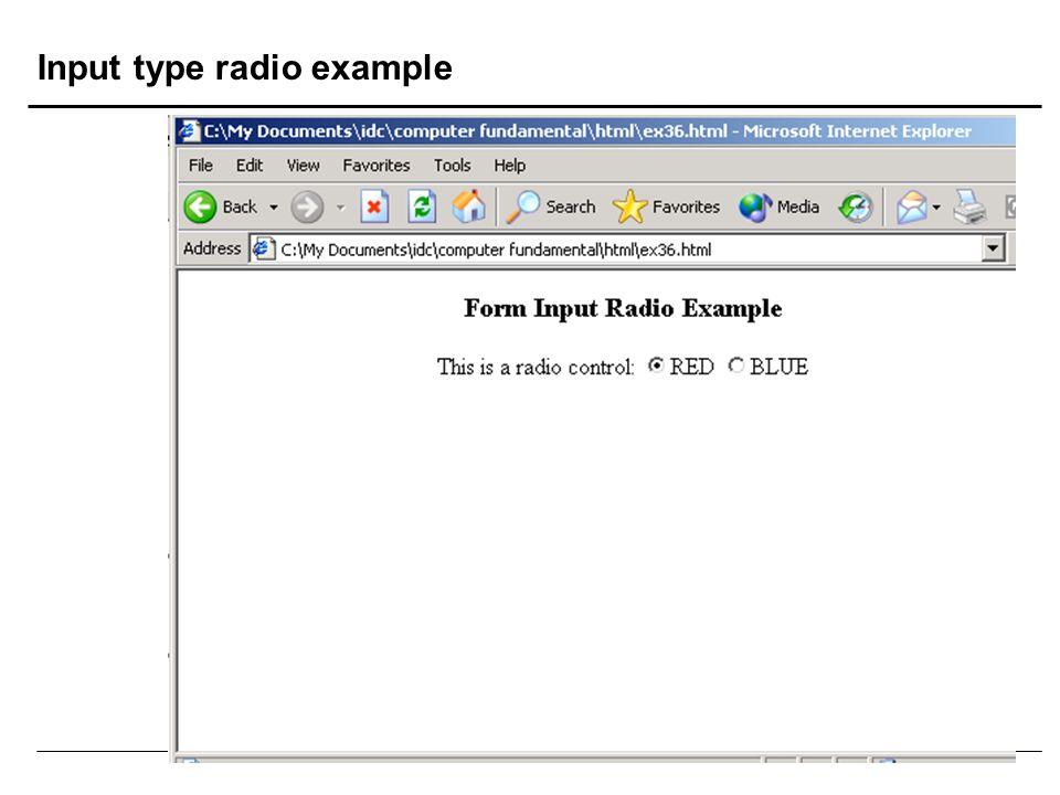 Input type radio example