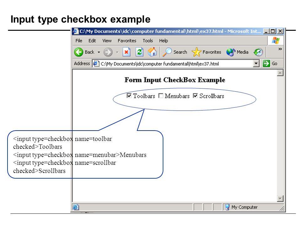 Input type checkbox example Toolbars Menubars Scrollbars
