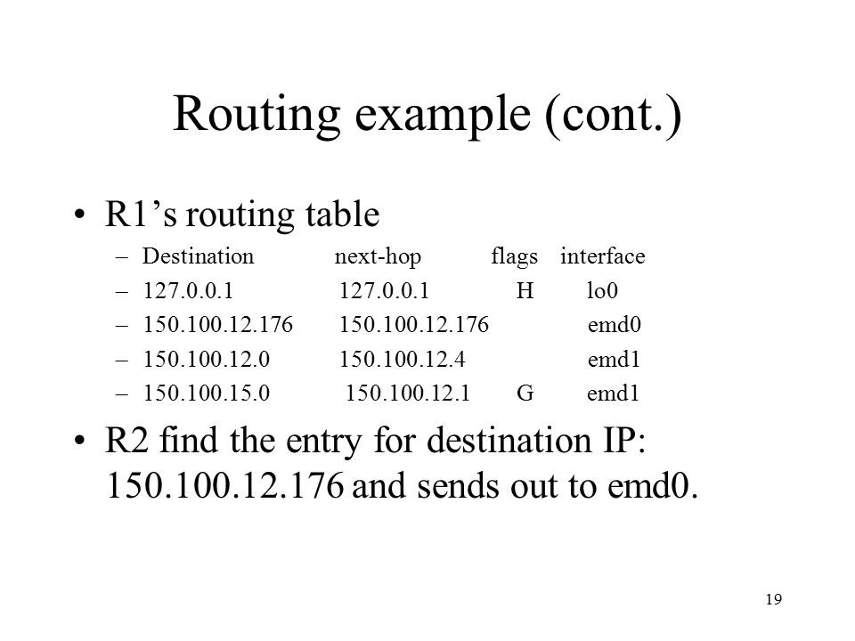 19 Routing example (cont.) R1's routing table –Destination next-hop flags interface –127.0.0.1 127.0.0.1 H lo0 –150.100.12.176 150.100.12.176 emd0 –15