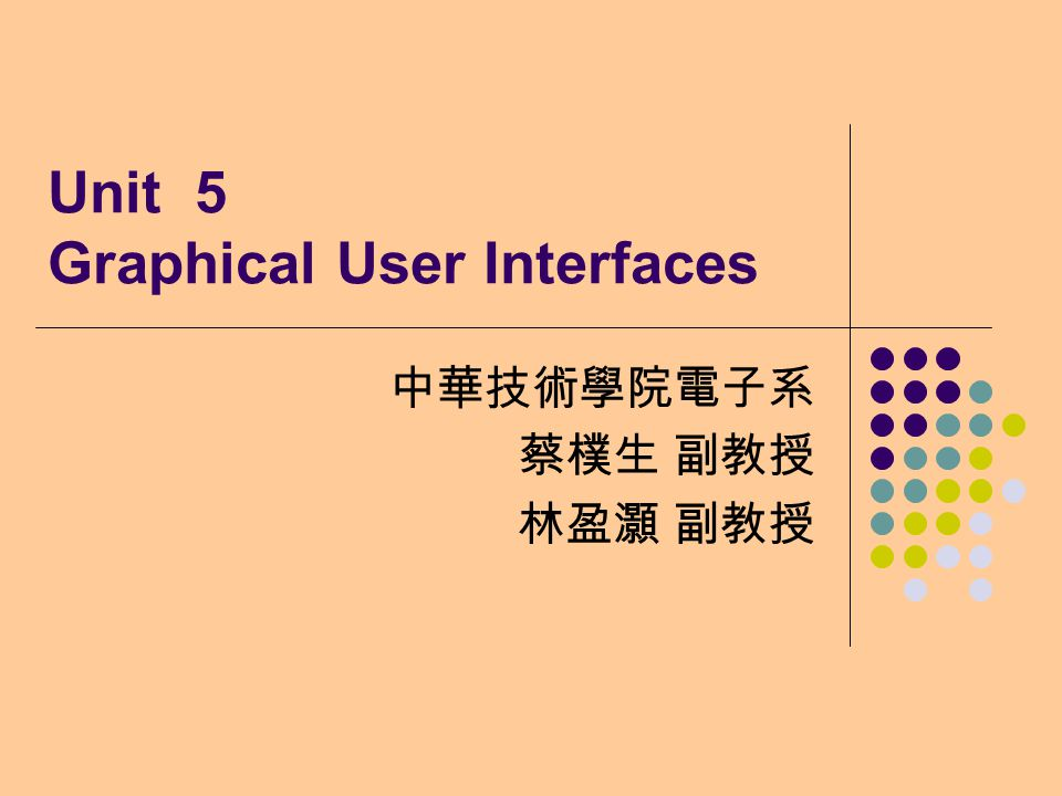 Unit 5 Graphical User Interfaces 中華技術學院電子系 蔡樸生 副教授 林盈灝 副教授