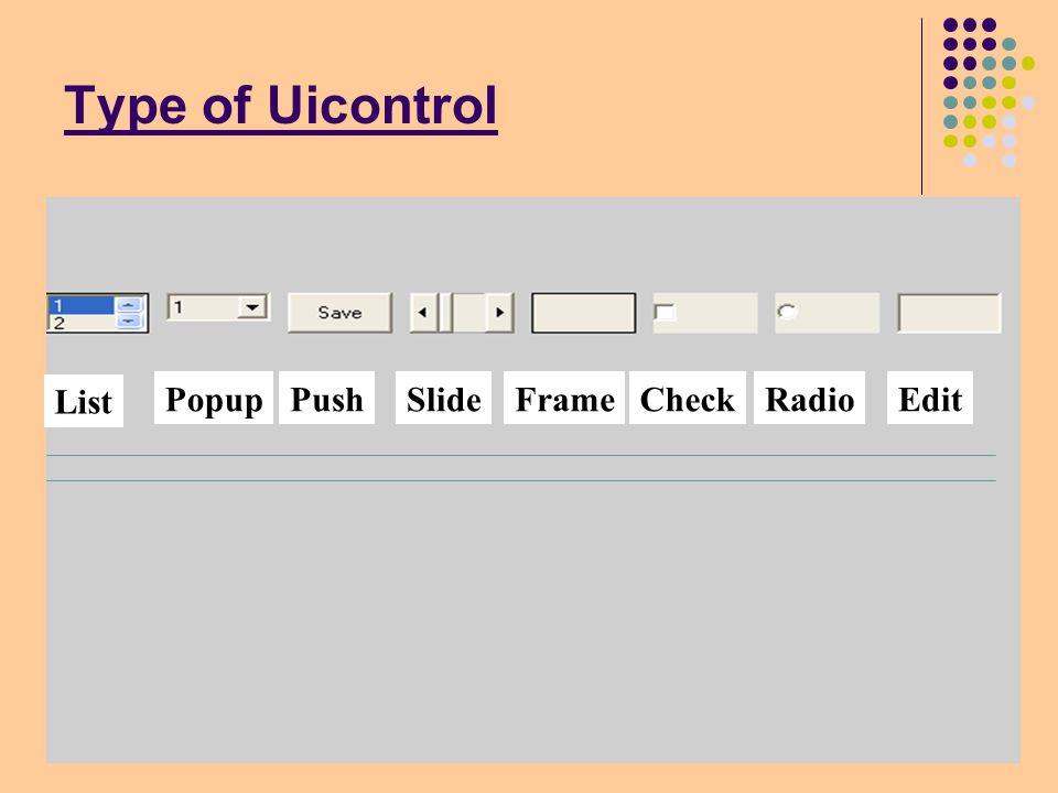 Type of Uicontrol List PopupPushSlideFrameCheckRadioEdit
