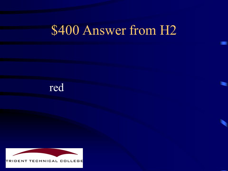 $400 Question from H2 What color are gram negatives When Gram stained