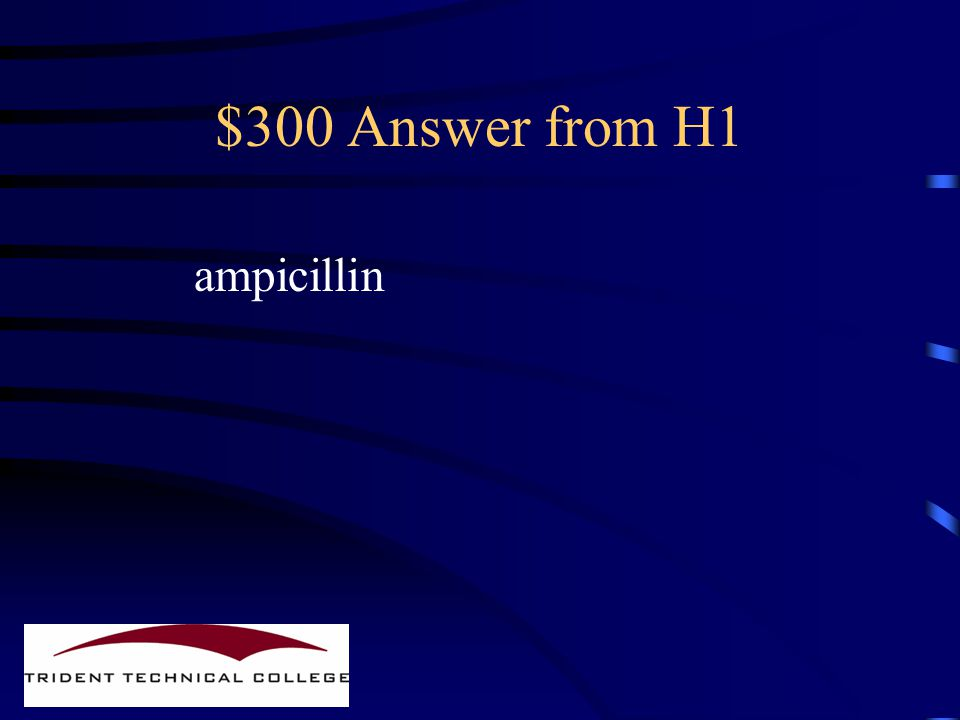 $300 Question from H1 Name an antibiotic which is Less susceptible to enzymes Which cleave the Beta lactam ring