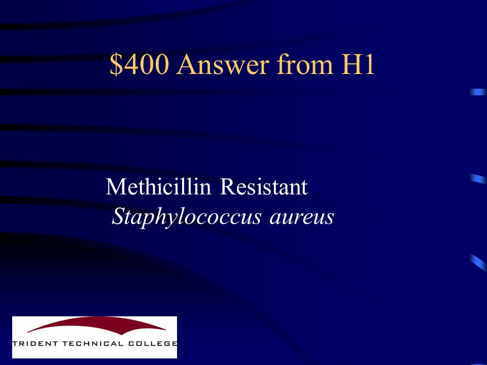 $400 Question from H1 What does MRSA mean